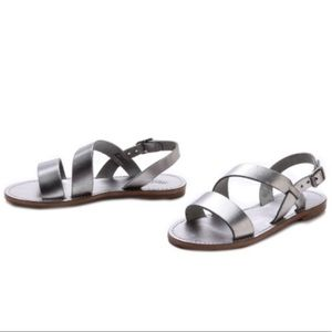 Madewell Leather Strappy Silver Opal Sandals